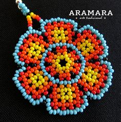 Lenght inches cms) The Huichol represent one of the few remaining indigenous cultures Native American Earrings, Native American Beadwork, Beaded Brooch, Beaded Jewelry, Handmade Jewelry, Beadwork Designs, Mexican Jewelry, Nativity Crafts, Loom Beading