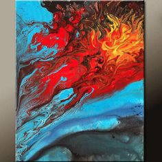 Abstract Canvas Art Painting Contemporary Original Paintings by Destiny Womack - dWo - The Battle from wostudios on Etsy. Saved to Now Available in My.
