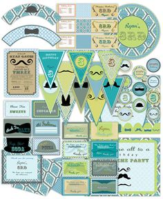 Boy Moustache Costume Vintage Birthday Large Party Pack Set  Package - card invitation banner Digital Printable Mustache - customized. $40.00, via Etsy.