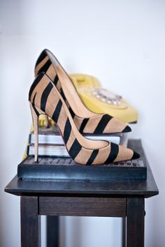 "Christian Louboutin Zebra 5"" heels"