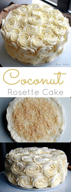 Light and fluffy coconut cake with a layer of toasted coconut decorated with stunning vanilla buttercream rosettes. | livforcake.com
