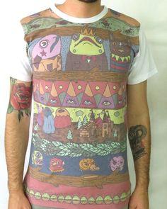 Fantasy Animal Court Print T-shirt