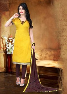 Yellow Cotton Churidar Suit 70046