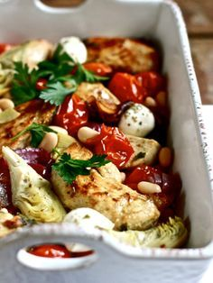 Mediterranean Baked Chickpeas with Artichokes or use Eggplant / white fish and add olives | Zola Blog / The Clever Carrot