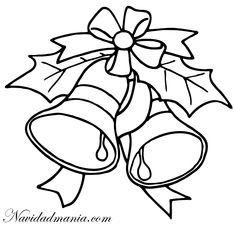 patrones para pintar de navidad   Campanas de Navidad para Colorear
