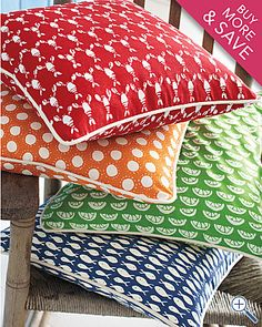 any one of these would be great on his bed $38 Garnet Hill by-the-sea pillow cover.