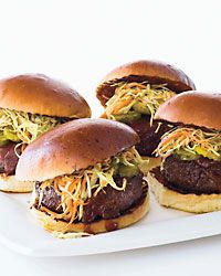 "Juicy Texas Burgers Recipe from Food & Wine: Bobby Flay created this for his wife, Stefanie March, ""a Texan who loves brisket and coleslaw."" It's Labor Day!"