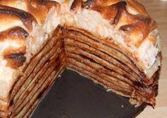 Rakott palacsinta Hungarian Desserts, Hungarian Recipes, Hungarian Food, Crepe Cake, Mille Crepe, Pancakes, Deserts, Food And Drink, Sweets
