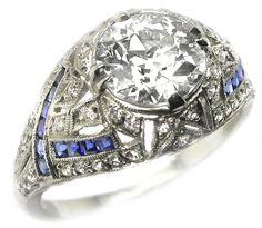1.61ct Art Deco Platinum Diamond Engagement Ring | New York Estate Jewelry | Israel Rose