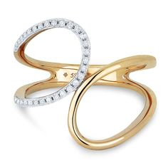 Double Open Loop Diamond Fashion Ring in 14k Rose Gold - Rings - LADIES' - Jewelry Collections Rogers & Hollands | Ashcroft & Oak