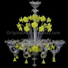 Chandelier Yellow Flowers Canarin - Floral - Murano Glass - 8 lights