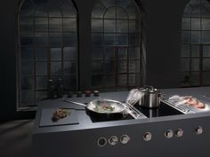 Induction glass ceramic wok cooktop Flush-mount hob Professional Collection by BORA
