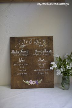Custom painted Medium Stained Plywood Wedding Sign. Bar / Wine / Specialty Cocktails Menu.  Colored floral details.