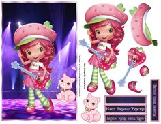 - A cute image of Strawberry shortcake playing on stage with the stage lights shinning down on her topper with decoupage,. Happy Birthday Princess, Birthday Wishes For Daughter, Girl Birthday, Printable Crafts, Cute Images, Strawberry Shortcake, Baby Elephant, Playing Guitar, Blank Cards
