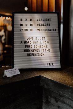 Hochzeitsspruch für Schild mit Kennenlern-Datum und Datum Verlobung und Hochzeit; Love is just a word... Mehr Hochzeitsbilder im Blog von vintage Hochzeitsfotografin Berlin © www.hochzeitslicht.de #hochzeitslicht