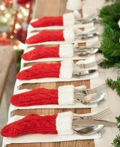 Stockings for your knives and forks. What a cute plate setting