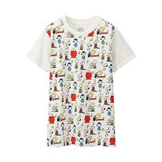 The Peanuts Movie has inspired the latest collection of t-shirts, sweatshirts, slippers and girls dresses featuring Snoopy and Charlie Brown. White Short Sleeve Tops, T Shirt And Shorts, Online Fashion Stores, Printed Tees, White Tees, Graphic Tees, Graphic Design, Floral Tops