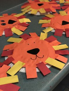 Children have fun making this adorable lying and using their cutting skills to cut out the circle and then placing the rectangles around with glue. Then using a marker they make the eyes and the mouth. I love how each one is so different