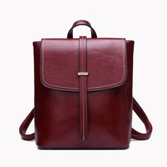 2017 new split leather women backpack preppy style oil wax leather shoulder  bag female casual vintage bag factory price fbe5a04c57c69
