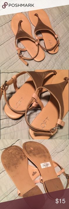 Rose Gold Loft Sandals Sz 9 Very cute rose gold sandals with a small block heel. Tan soles. Preloved with some wear to the bottoms, but otherwise brand new condition! These fit TTS. LOFT Shoes Sandals