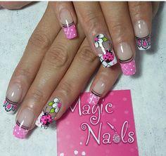 Nail Jewelry, French Tip Nails, Spring Nails, Pedicure, Acrylic Nails, Nail Designs, Nail Art, Flower Nails, Chic Nails