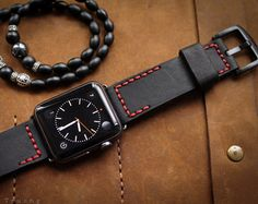 Handmade Vintage Leather Strap Black Classic by BlackForestAtelier