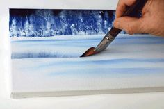 Learn How To Paint Landscapes. Snow covered field and winter trees.