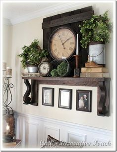 great idea for a fireplace mantle decor Home Interior, Interior Decorating, Decorating Ideas, Mantle Decorating, Mantles Decor, Interior Modern, Plant Ledge Decorating, Bookshelf Decorating, Plant Decor
