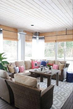 The Tobago Outdoor Collection, outdoor curtains and a patterned rug turn this screened in porch into an outdoor living room. See how Jennifer Bridgman of The Chronicles of Home made sure this would be a three-season porch... on The Home Depot Blog.    @chrniclesofhome