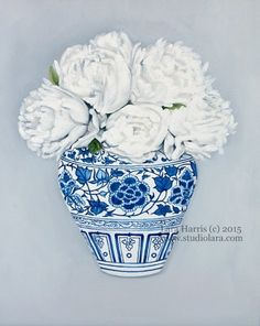 Still Life White Peonies in a Ming Vase . . . by studiolara316 blue and white ginger jar