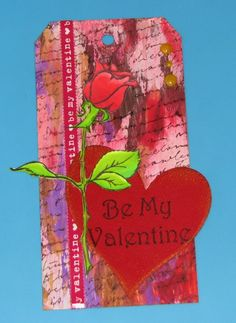 Be My Valentine Peeled Paint Tag - DecoArt paints; Just For Fun Rubber Stamps; Chameleon Markers; IMAGINE Crafts Ink & Pico Embellisher