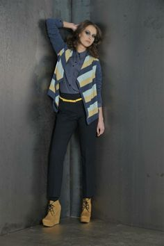 knitwear jacket with blouse and wood trousers