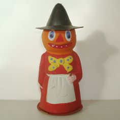 VINTAGE HALLOWEEN COMPOSITION  WITCH CANDY CONTAINER GERMANY