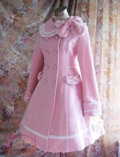 Pink Long Sleeves Lace Lolita A-line Coat - custom tailor available