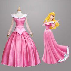 Venta caliente! La Bella Durmiente Aurora Princesa vestido de niña de rosa largo de la falda para la fiesta de Halloween Cosplay Mujeres vestido envío libre(China (Mainland))