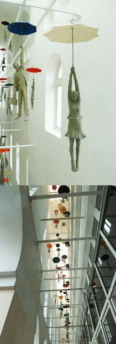 Unique Umbrella Floating Figurines in Prague