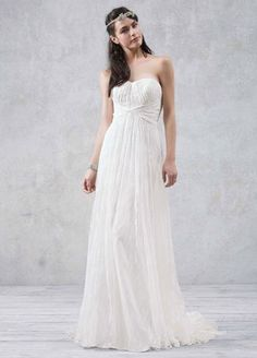 Galina Strapless Empire Waist Lace Gown (Style from David's Bridal. Available in Soft White only. Wedding Dresses 2014, Bridal Dresses, Wedding Gowns, Bridesmaid Dresses, Prom Dress, Lace Wedding, Galina Wedding Dress, Davids Bridal Gowns, Wedding Gown Preservation