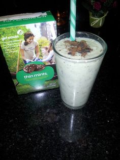 Herbalife shake with girl scout cookie (thin mint) YUM!!!