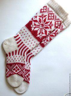 Носки, Чулки ручной работы. Ярмарка Мастеров - ручная работа. Купить Носки шерстяные'Белый-красный'. Handmade. Шерстяные носки