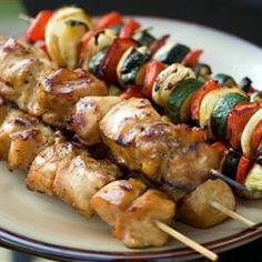 Yummy Honey Chicken Kabobs - Honey chicken kabobs with veggies. You can marinate overnight and make these kabobs for an outdoor barbecue as a tasty alternative to the usual barbecue fare