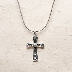"""1 1/4"""" sterling silver cross with a freshwater pearl cabochon on a 16-18"""" chain.$99.96 shop online @ donnaaquilino.willowhouse.com"""