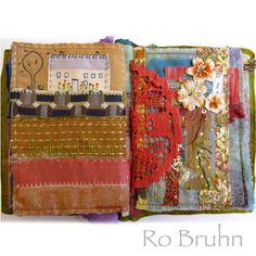 Ro Bruhn - some hand stitched pages in my Etsy journal Handmade Journals, Handmade Books, Handmade Rugs, Handmade Crafts, Fabric Art, Fabric Crafts, Fabric Books, Collage, Junk Journal