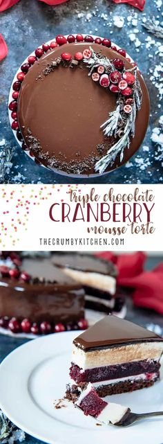 This Triple Chocolate Cranberry Mousse Torte is a to-die-for addition to your holiday tables! Layers of milk chocolate brownie, creamy white chocolate mousse, and decadent dark chocolate mirror glaze encase a homemade cranberry jelly. #triplechocolate #chocolate #cranberry #mousse #chocolatemousse #whitechocolate #cake #torte #entremets #mirrorglaze #darkchocolate #dessert #christmas #holiday