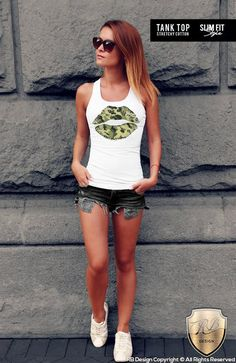 fd3a588c88212b Womens Army Shirt   Womens Lips Shirt   Camouflage Lips T Shirt    Camouflage T-