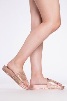 146f5478b788a5 Rose Gold Dazzling Slide Sandals   Cicihot Sandals Shoes online store sale  Sandals