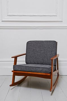 Vintage Danish Rocker with Handprinted Chair Pads by EnRouteStudio