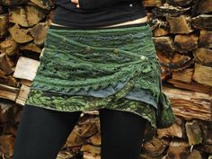 Yara Skirt (Green) - Festival Gypsy Bohemian Skirt, Hippie Fairy Festival Goa Psytrance Party