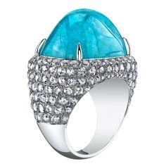 incredible tourmaline jewelry | TAMIR Incredible Paraiba Tourmaline and Diamond Ring. at 1stdibs