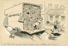 Cartoon to mark the closure of the old Guildford Library and its removal to new premises on North Street by Reuben Harold Betts drawn for Guilford Library in 1962. SHC Ref: PX/72/655 (From Exploring Surrey's Past site)