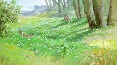 Art by 男鹿 和雄 Kazuo Oga* - Background Art Fantasy Landscape, Landscape Art, Landscape Paintings, Hayao Miyazaki, Illustrations, Illustration Art, Art Studio Ghibli, Animation Background, Anime Scenery